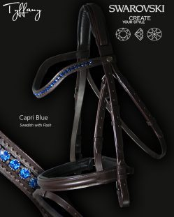 Horse Bridle Swarovski Crystals Capri Blue Wave Design