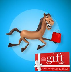 Gift Card Horse Shopping Blue Background