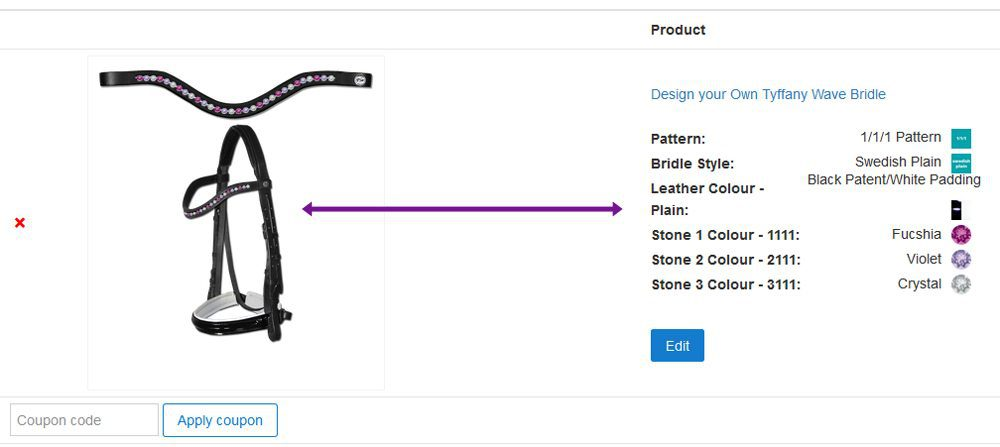 Add your Designer Horse Tack to your Shopping Cart
