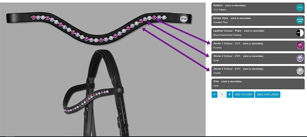 Pink Equine Configurator Page to design your own Horse Tack