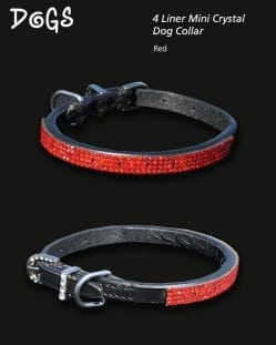 4 Liner Mini Crystal Dog Collar Lt Siam