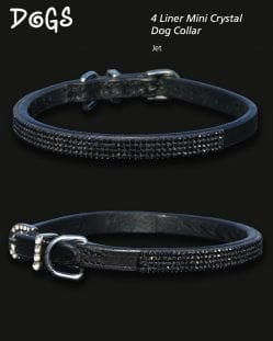4 Liner Mini Crystal Dog Collar Jet