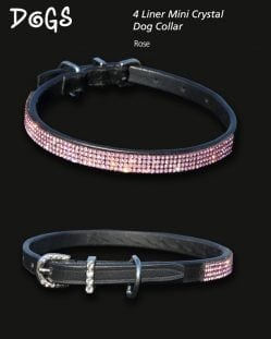 4 Liner Mini Crystal Dog Collar Rose