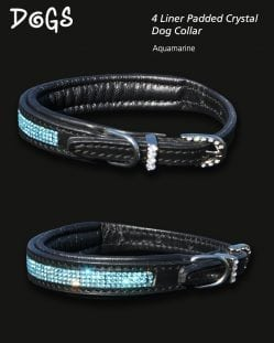 Aquamarine Diamond Padded Dog Collar