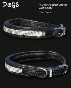 diamond crystal padded dog collar