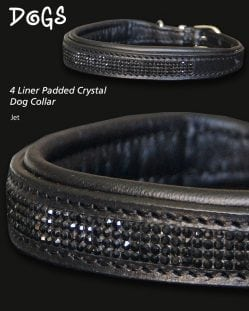 jet coloured diamond crystal padded dog collar