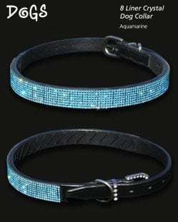 Aquamarine Crystal Diamond Encrusted Dog Collar