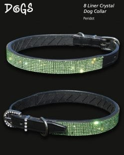 8 liner Peridot Crystal Diamond Dog Collar