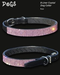 Rose Crystal Diamond Encrusted Dog Collar