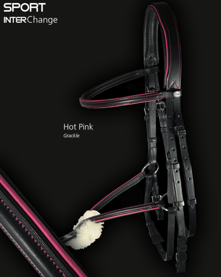 Sport Interchange Grackle Bridle with Hot Pink Piping