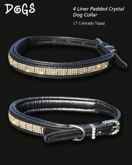 Topaz diamond 4 liner dog collar