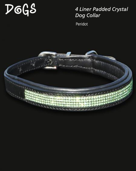 4 liner peridot coloured crystal padded dog collar