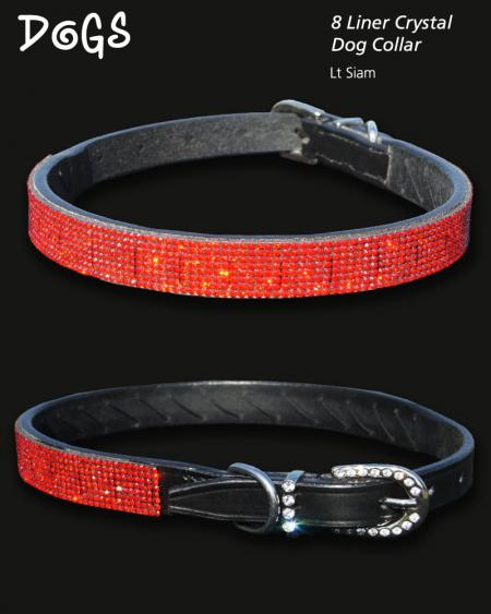 Siam Coloured Crystal encrusted dog collar