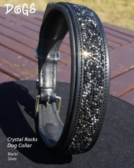 Black and Silver Crystal Rocks Dog Collar