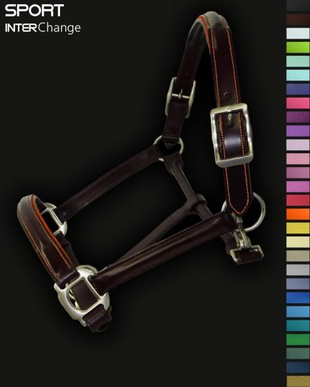 Leather Horse Headcollar Orange Piping